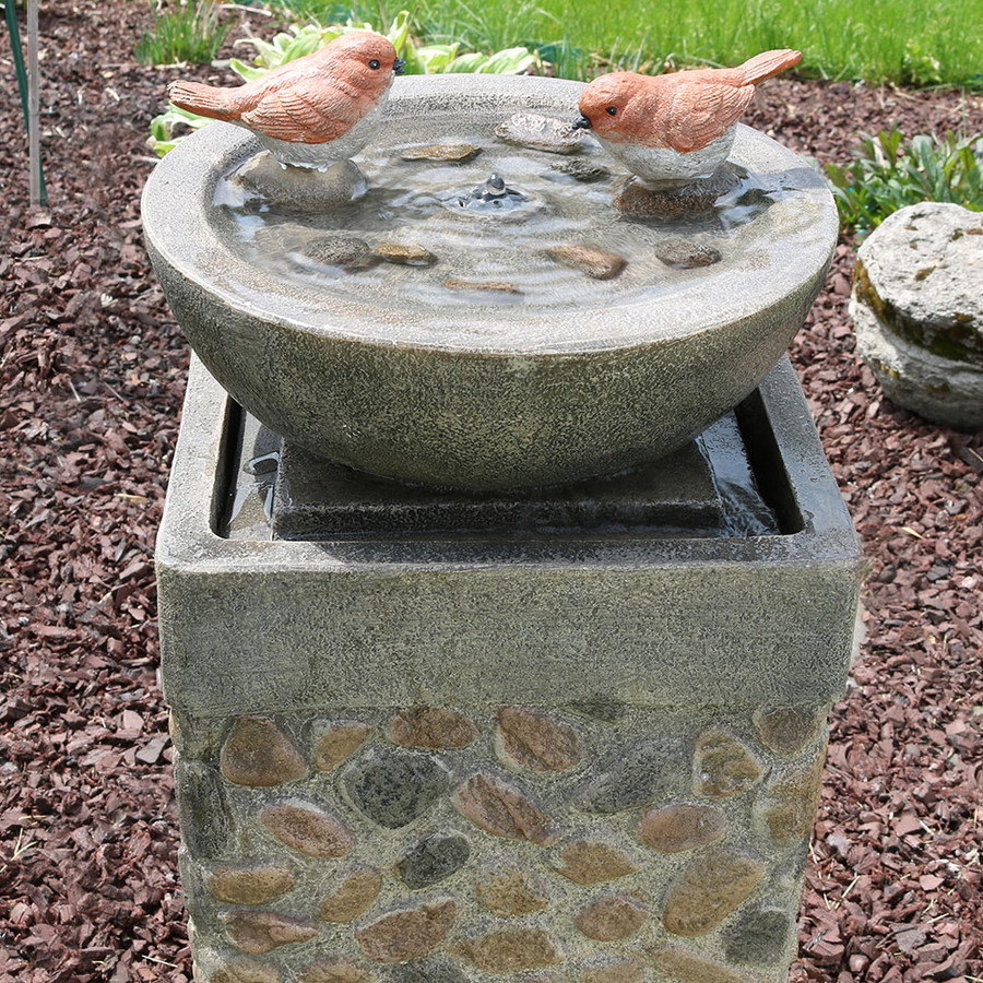Sunnydaze Birdbath Basin on Pedestal Outdoor Garden Water Fountain, 29 Inch Tall