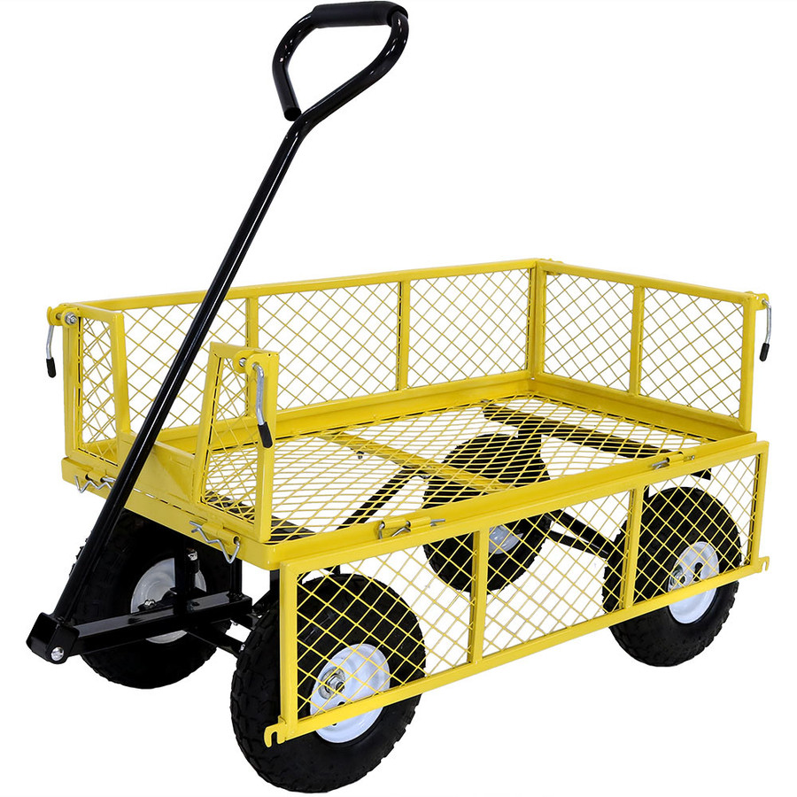 Yellow Cart with One Side Folded Down