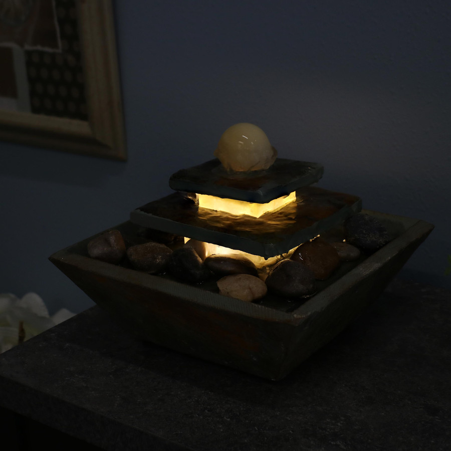 Ascending Slate Tabletop Water Fountain with LED Light, Nighttime