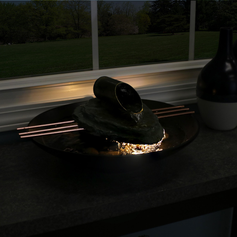 Sunnydaze Soothing Balance Slate Tabletop Water Fountain with LED, Nighttime