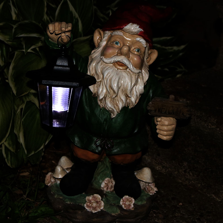 Frankie the gnome at night