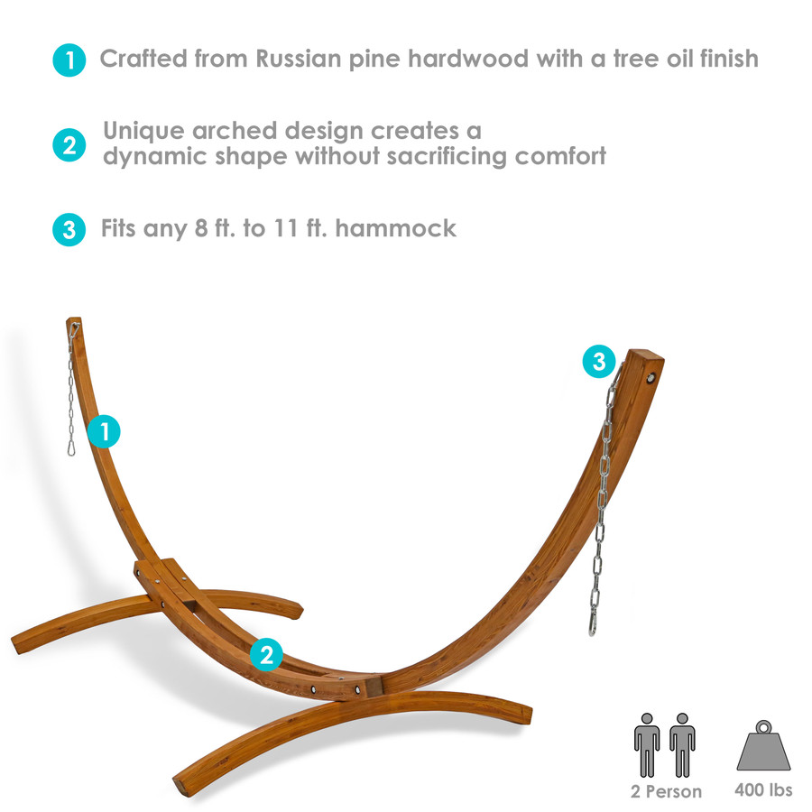 Infographic for 12' Wooden Hammock Stand