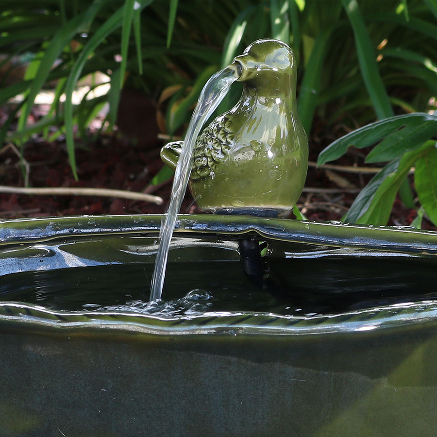 Sunnydaze Solar Green Glazed Dove Water Fountain