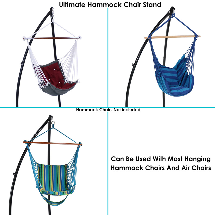 Infographic Showing Stand with Different Styles of Hammock Chairs (Hammock Chairs Sold Separately)