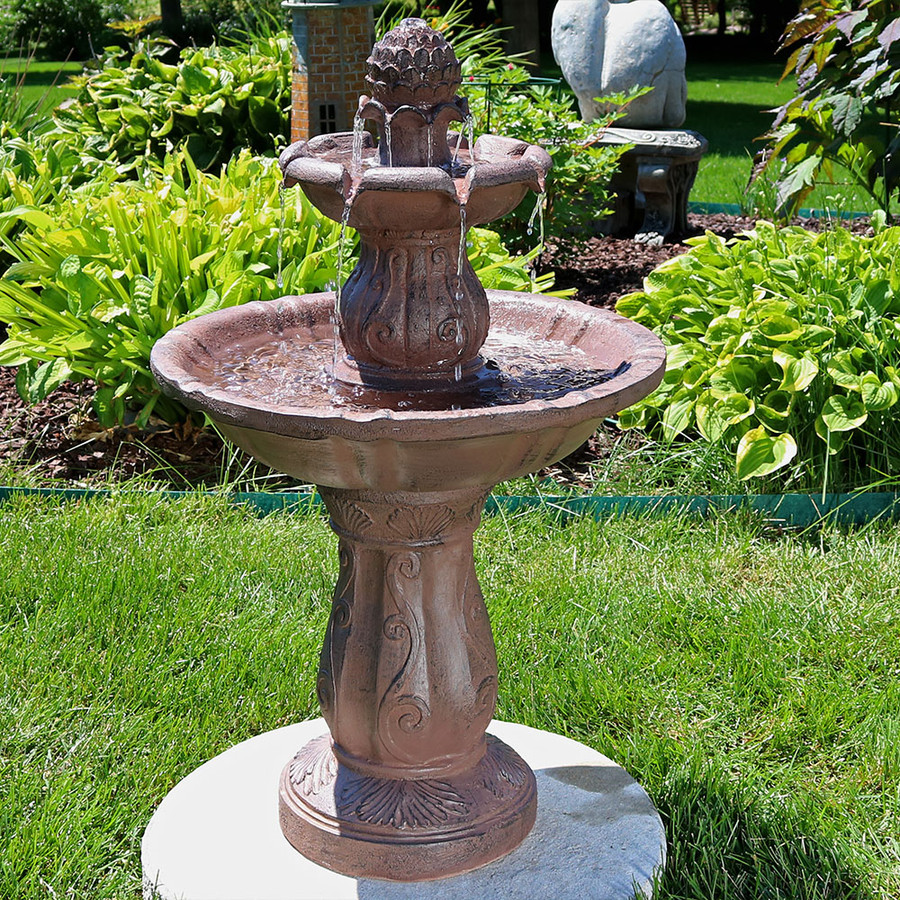 Sunnydaze Clover Blossom Cascading 2-Tier Outdoor Water Fountain, 29 Inch Tall