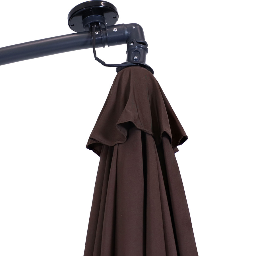 Umbrella with Solar Panel, Brown