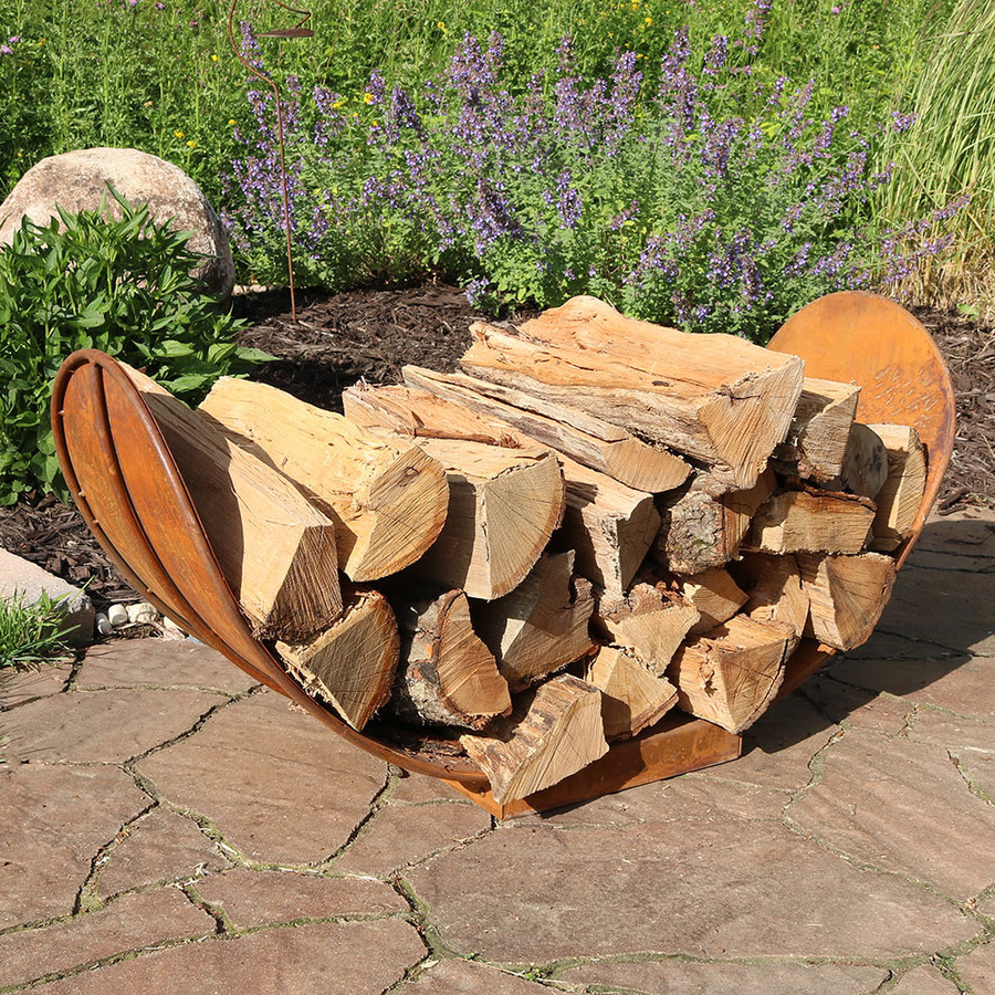 Sunnydaze Rustic Outdoor Firewood Log Rack