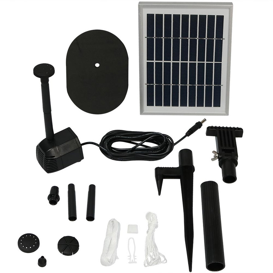 Sunnydaze Solar Pump and Solar Panel Kit with 4 Spray Heads, 36-Inch Lift, 66 GPH