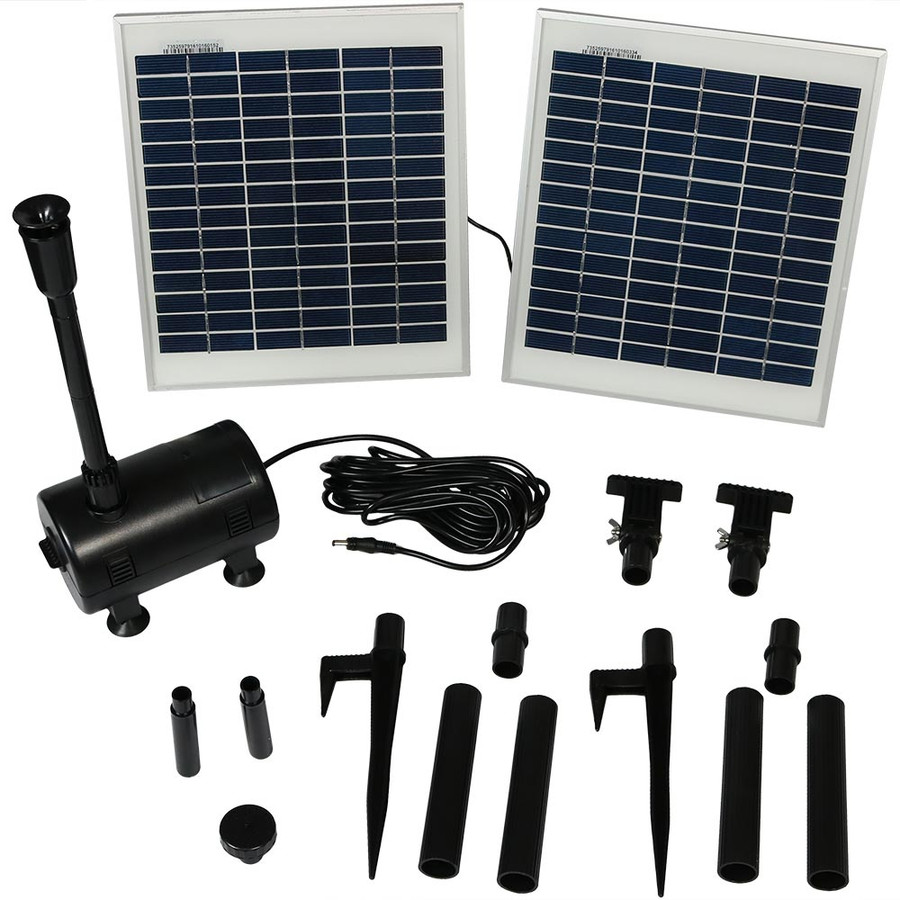 Sunnydaze Solar Pump and Solar Panel Kit With 2 Spray Heads, 120-Inch Lift, 396 GPH