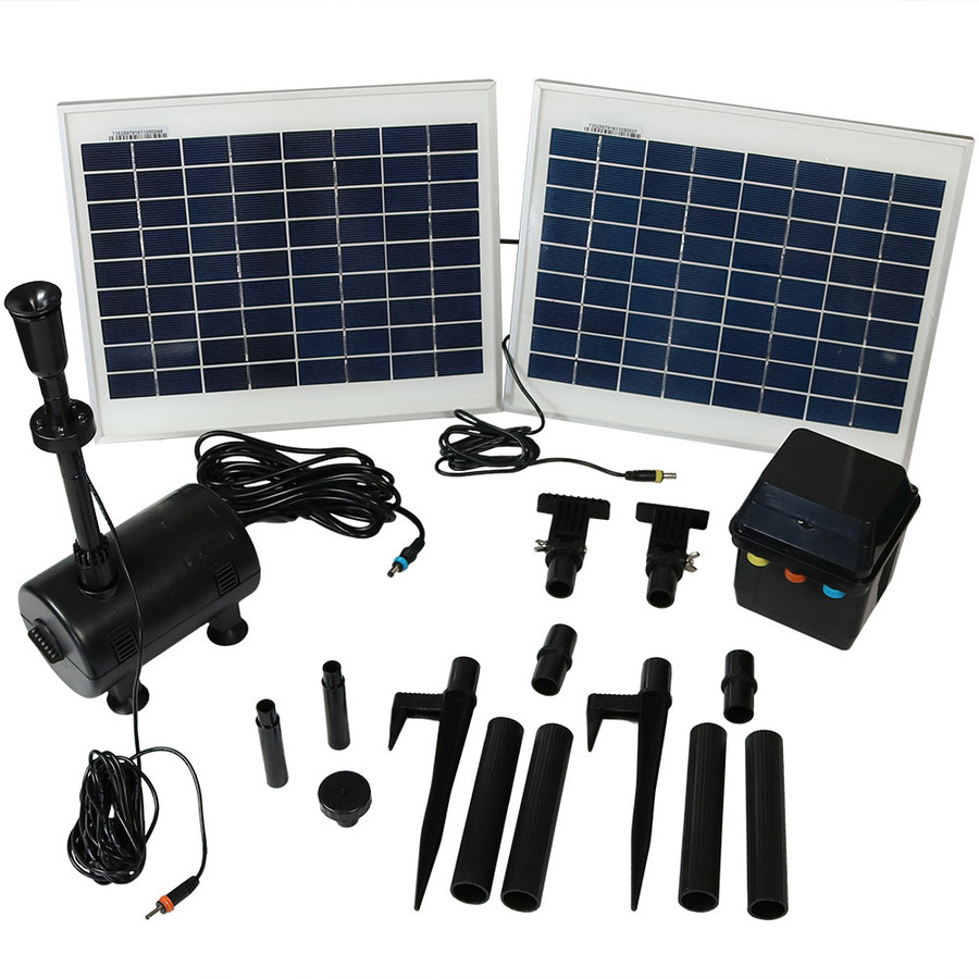 Sunnydaze Solar Pump and Panel Kit With Battery Pack and LED Light, 396 GPH, 120-Inch Lift