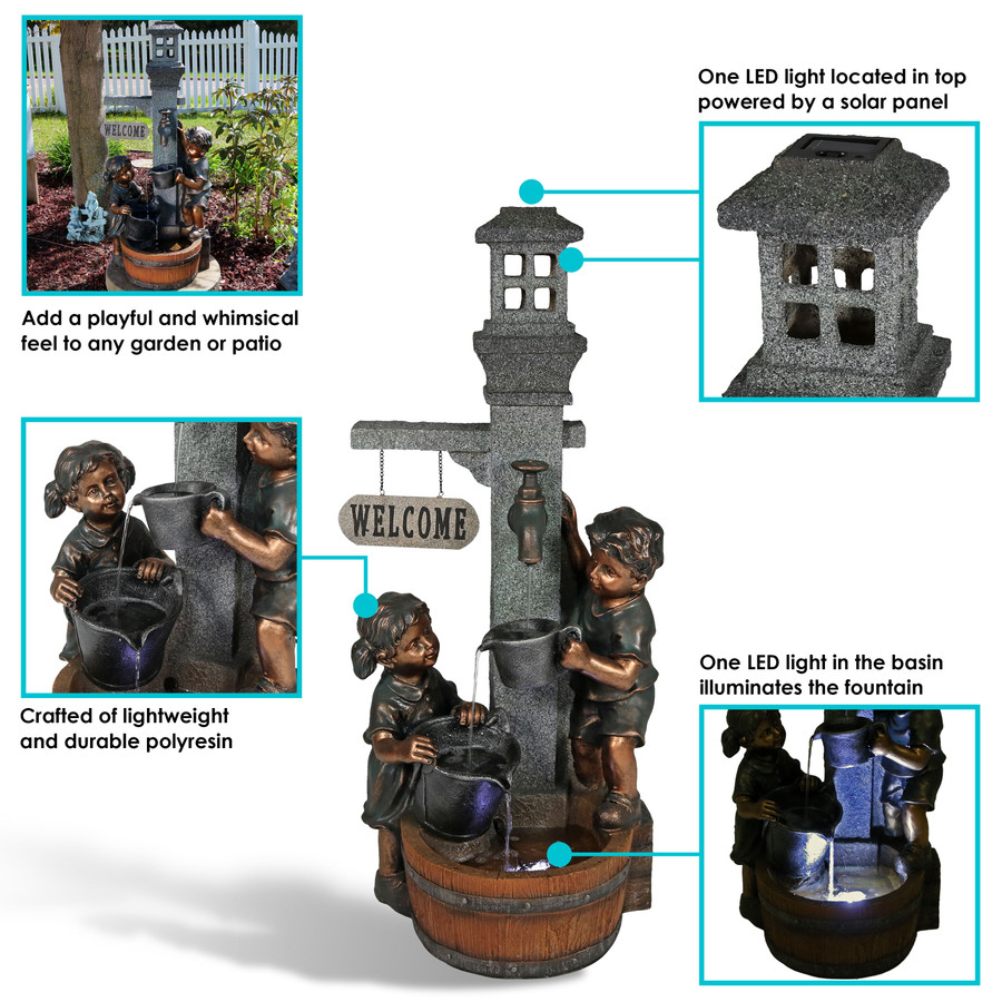 Sunnydaze Children Playing with Water Faucet Outdoor Garden Fountain with LED Lights, 40 Inch Tall