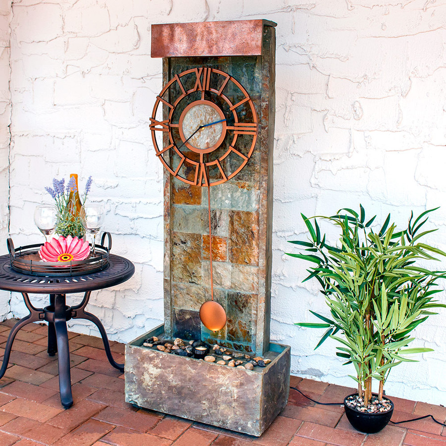 Slate Indoor/Outdoor Water Fountain with Clock and LED Spot Light