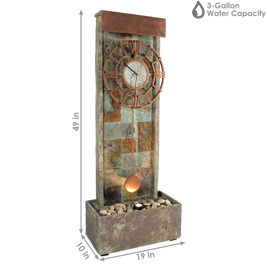 Sunnydaze Slate Indoor/Outdoor Water Fountain with Clock and LED Light, 49 Inch Tall
