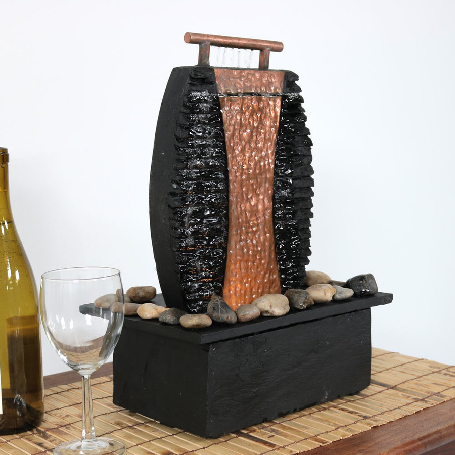 Copper Accent Flowing Falls Slate Indoor Tabletop Water Fountain