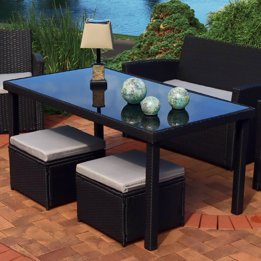 Outdoor Small Square Slate Solar Table Lamp, Shown Outdoors (Table and Decorative Orbs Sold Separately)