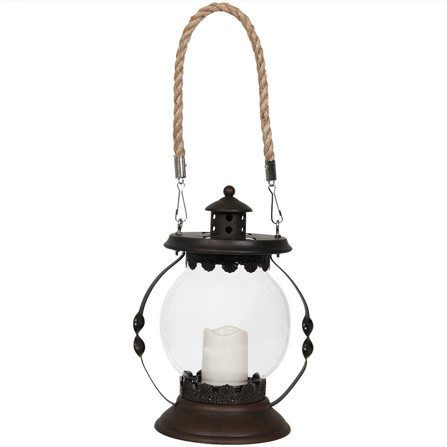 Sunnydaze 8.5-Inch Outdoor Glass Globe Solar Lantern with Candle and LED Light