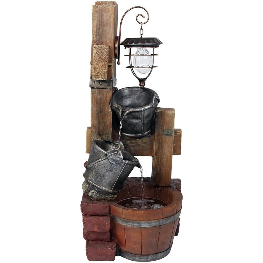 Rustic Pouring Buckets Outdoor Garden Water Fountain with Solar Lantern