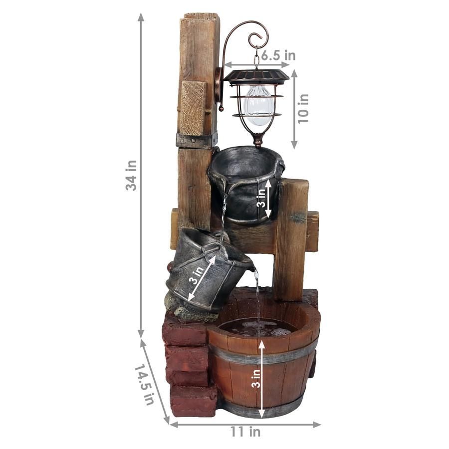 Sunnydaze Rustic Pouring Buckets Outdoor Garden Water Fountain with Solar Lantern, 34 Inch Tall