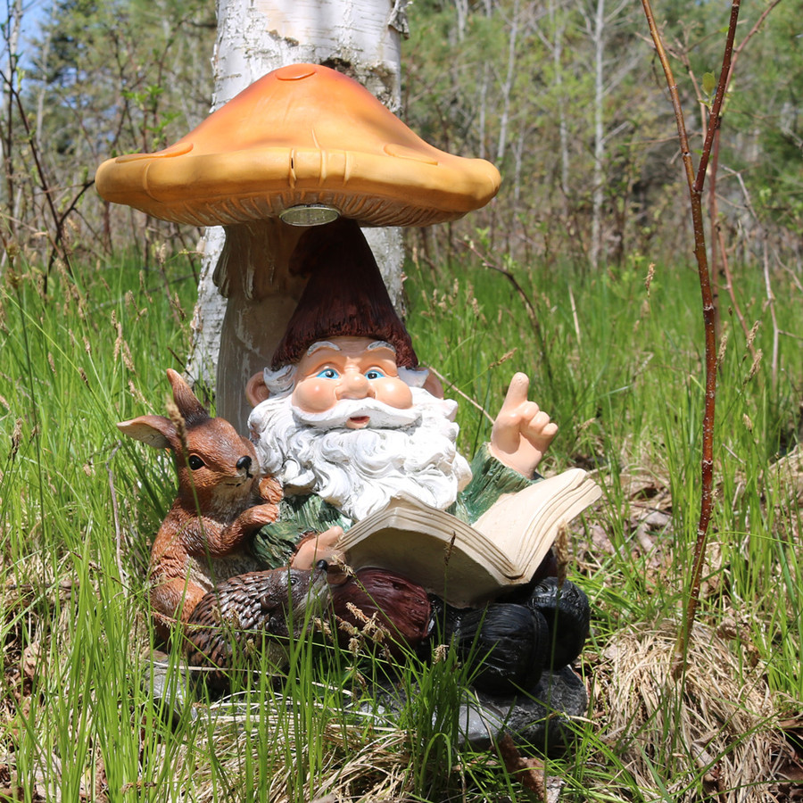 Sunnydaze Book Worm Bernard the Outdoor Garden Gnome with Mushroom and Solar Light