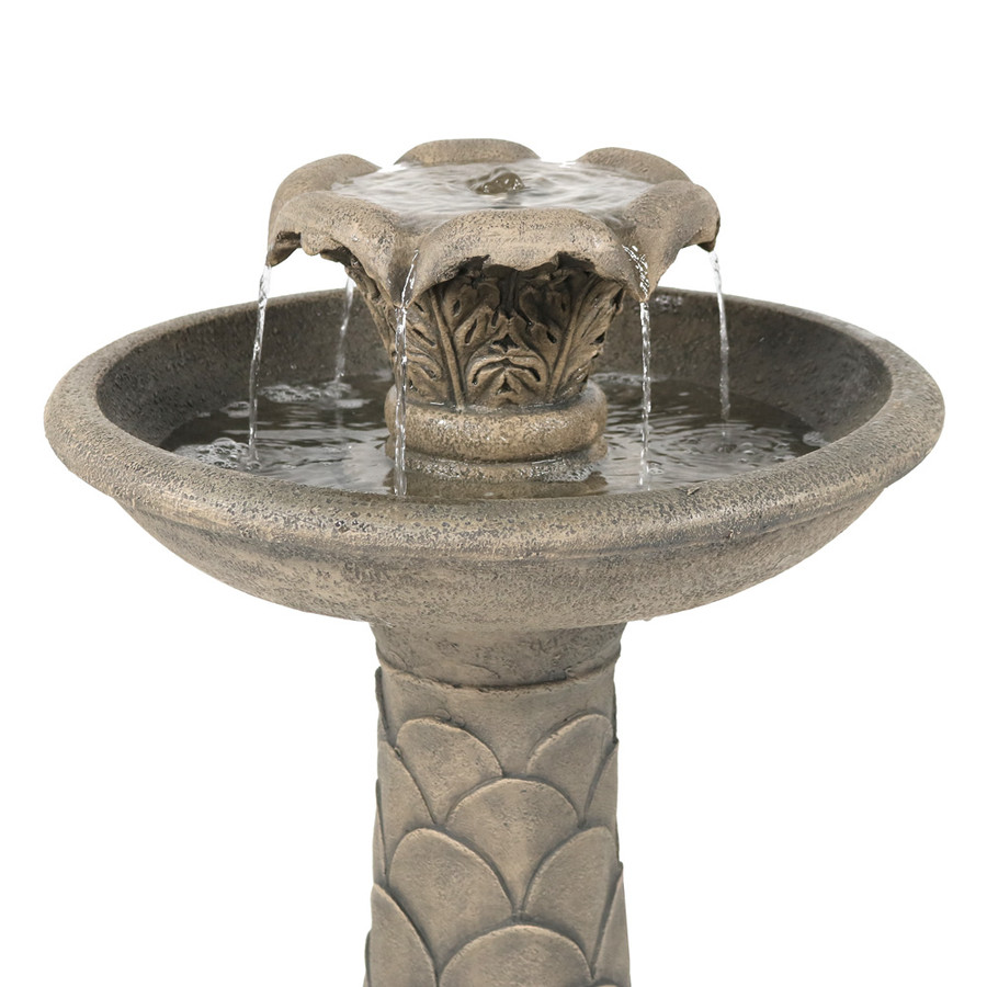 Sunnydaze 2-Tier Blossoming Spring Flower Birdbath Outdoor Water Fountain, 27 Inch Tall, Includes Electric Submersible Pump