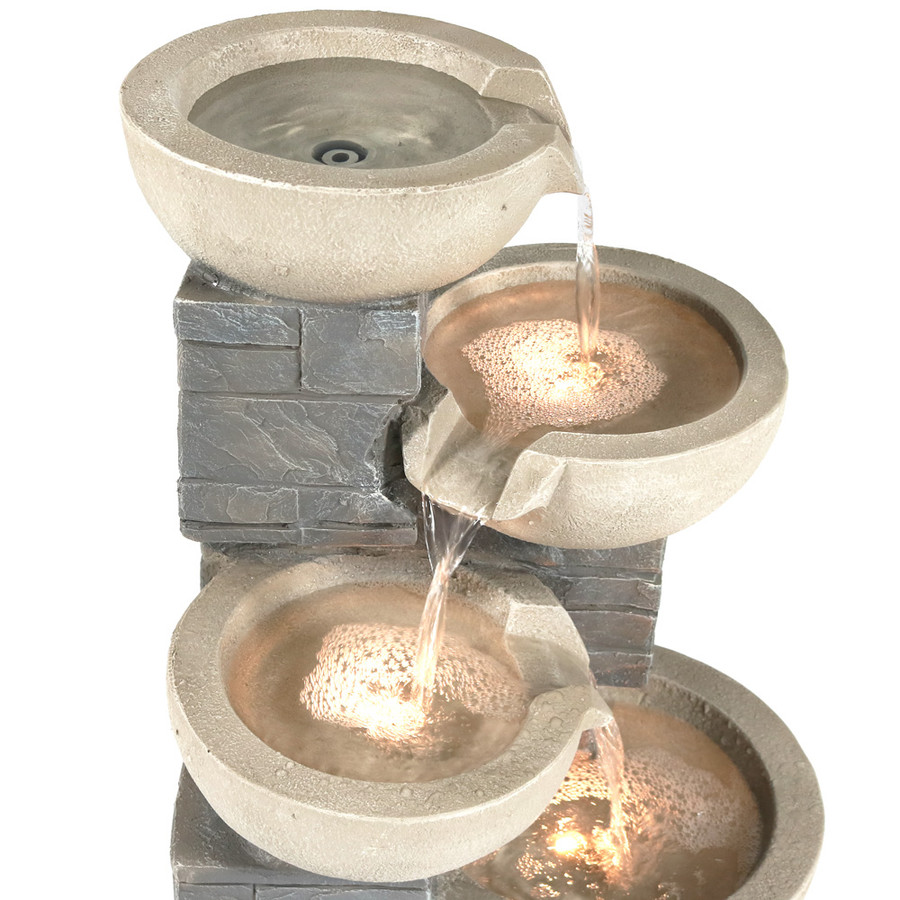 Sunnydaze 4-Tier Descending Stone Bowls Outdoor Water Fountain with LED Lights, Includes Electric Submersible Pump