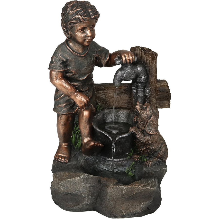 Boy and Puppy Filling Bucket at Water Pipe Outdoor Fountain