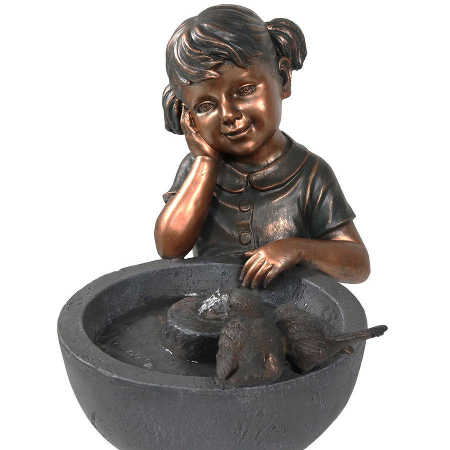Sunnydaze Little Girl Admiring Water Spout Outdoor Garden Water Fountain, 28 Inch Tall, Includes Electric Pump