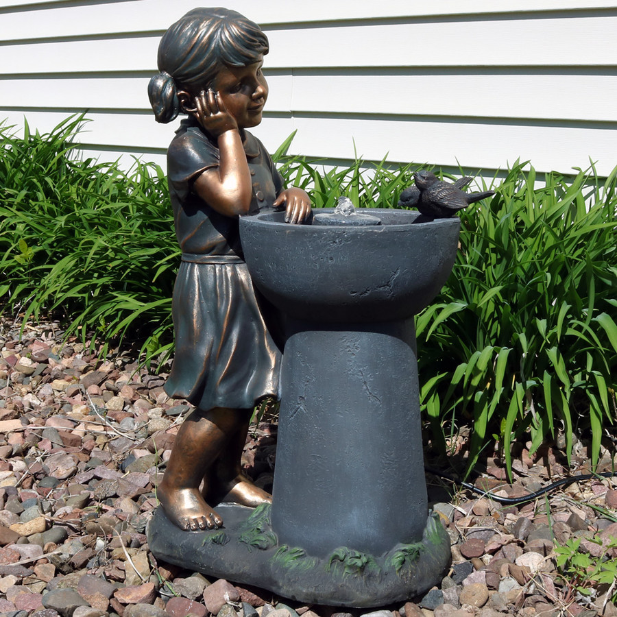 Little Girl Admiring Water Spout Outdoor Garden Water Fountain, Outdoor