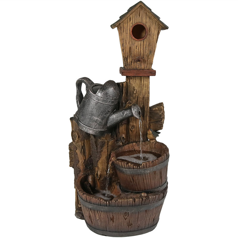 Sunnydaze Rustic Birdhouse and Garden Watering Can Outdoor Water Fountain, 31 Inch Tall, Includes Electric Submersible Pump