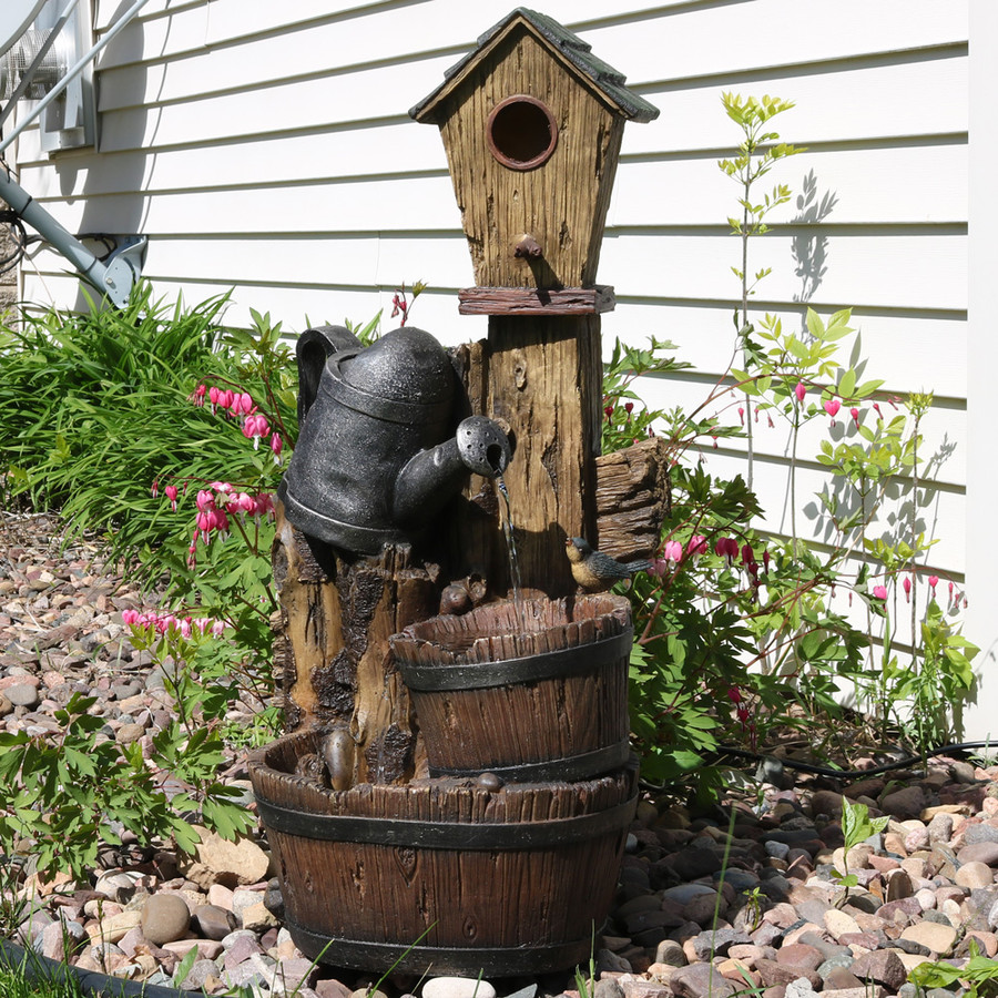 sunnydaze rustic birdhouse and garden watering can outdoor water fountain  31 inch tall