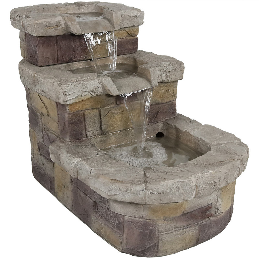 3-Tier Brick Steps Outdoor Water Fountain