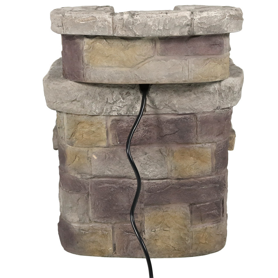 Sunnydaze 3-Tier Brick Steps Outdoor Water Fountain, 21 Inch Tall, Includes Electric Submersible Pump