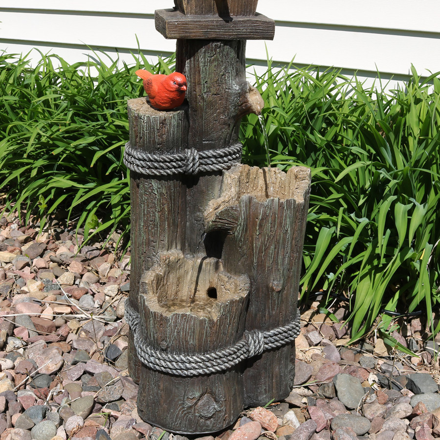 Sunnydaze 2 Story Birdhouse with Cardinal Outdoor Water Fountain, 34 Inch Tall, Includes Electric Pump