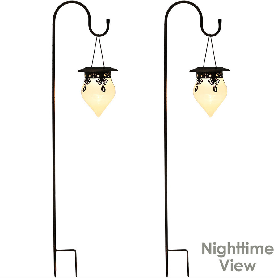 Rain Drop Outdoor Solar Light With Shepherd Hook - Set of Two  - Lighted