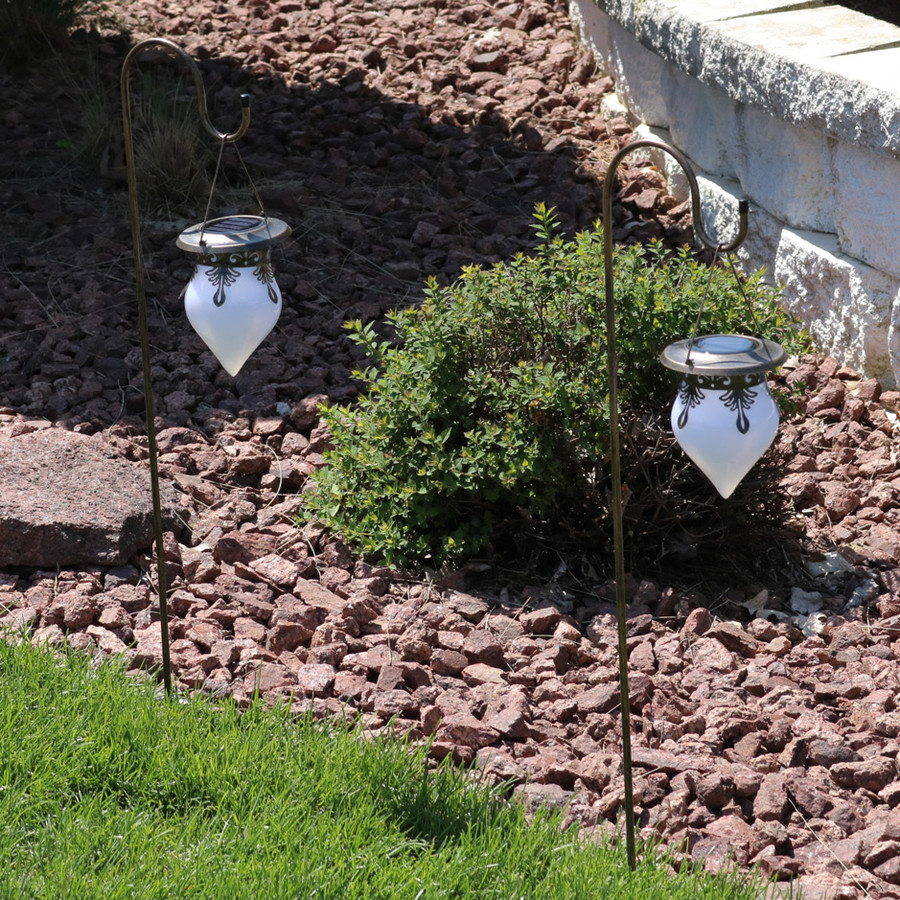 Sunnydaze Rain Drop Outdoor Solar Light With Shepherd Hook - Set of Two