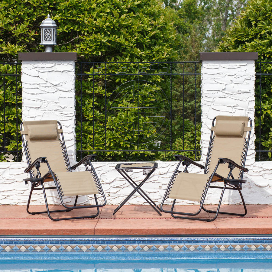Sunnydaze Zero Gravity Reclining Lounge Chairs with Pillows, Cup Holders and Matching Table, Set or Table Only