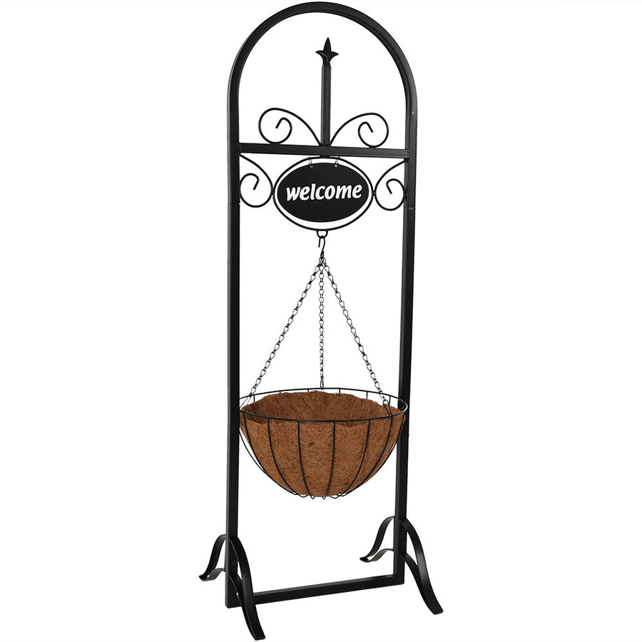 Outdoor Decorative Welcome Sign with Hanging Basket Planter Stand