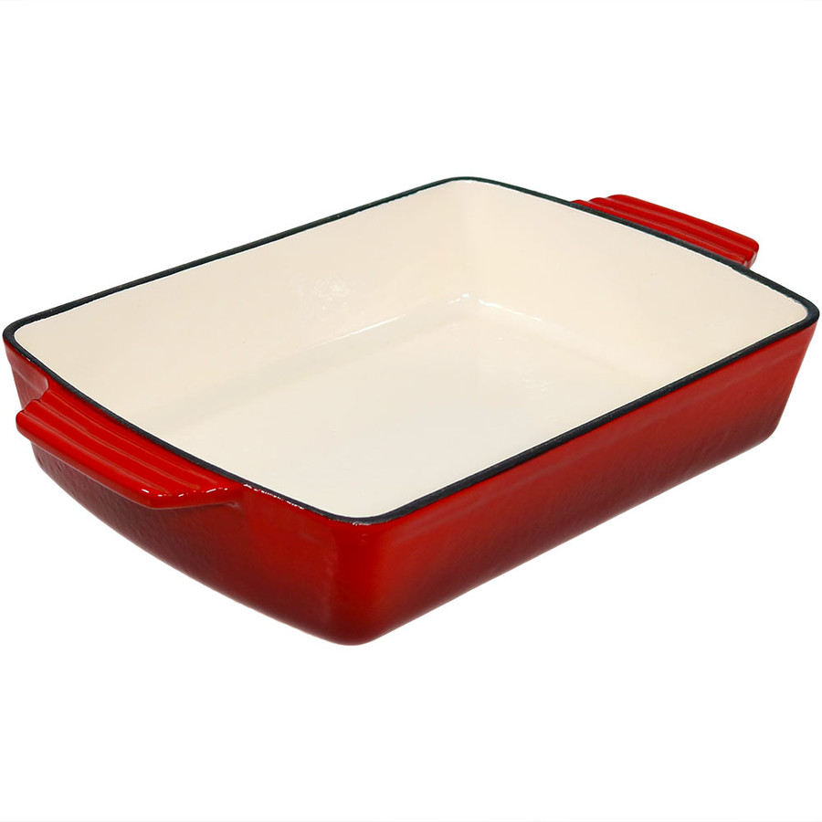 Enameled Cast Iron Baking Dish Side View