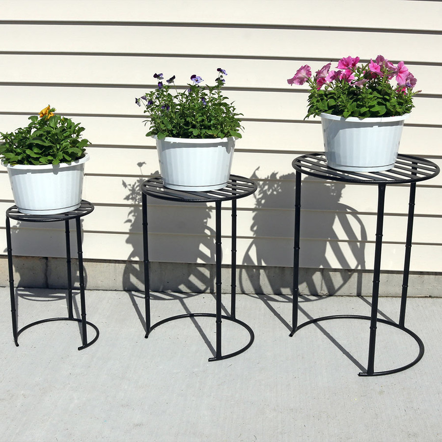 Sunnydaze Modern Indoor/Outdoor Nesting Plant Stands, Set of 3