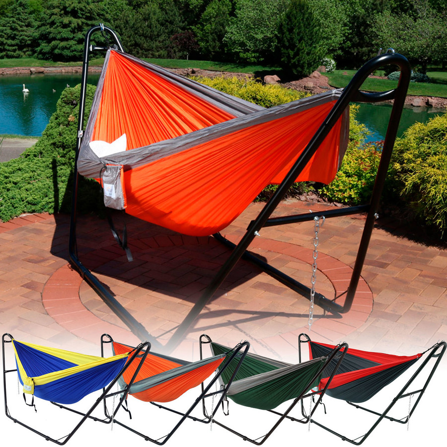 Sunnydaze Double Nylon Parachute Hammock, Includes Carabiners and 2 Person Multi-Use Steel Hammock Stand
