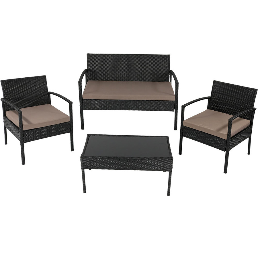 Anadia 4-Piece Rattan Lounger Patio Furniture Set, Taupe