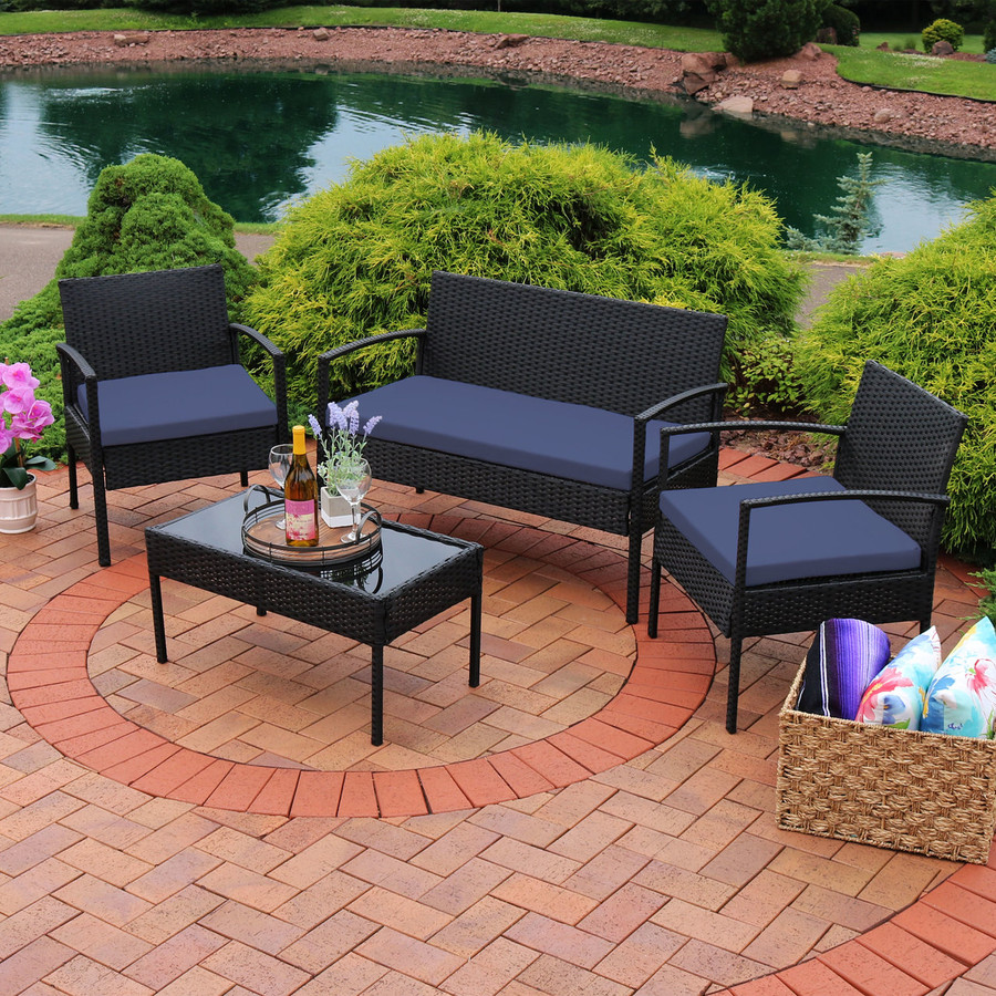 Anadia 4-Piece Rattan Lounger Patio Furniture Set, Dark Blue