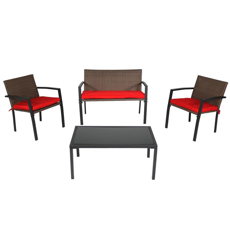 Kula 4-Piece Rattan Patio Furniture Lounger Set
