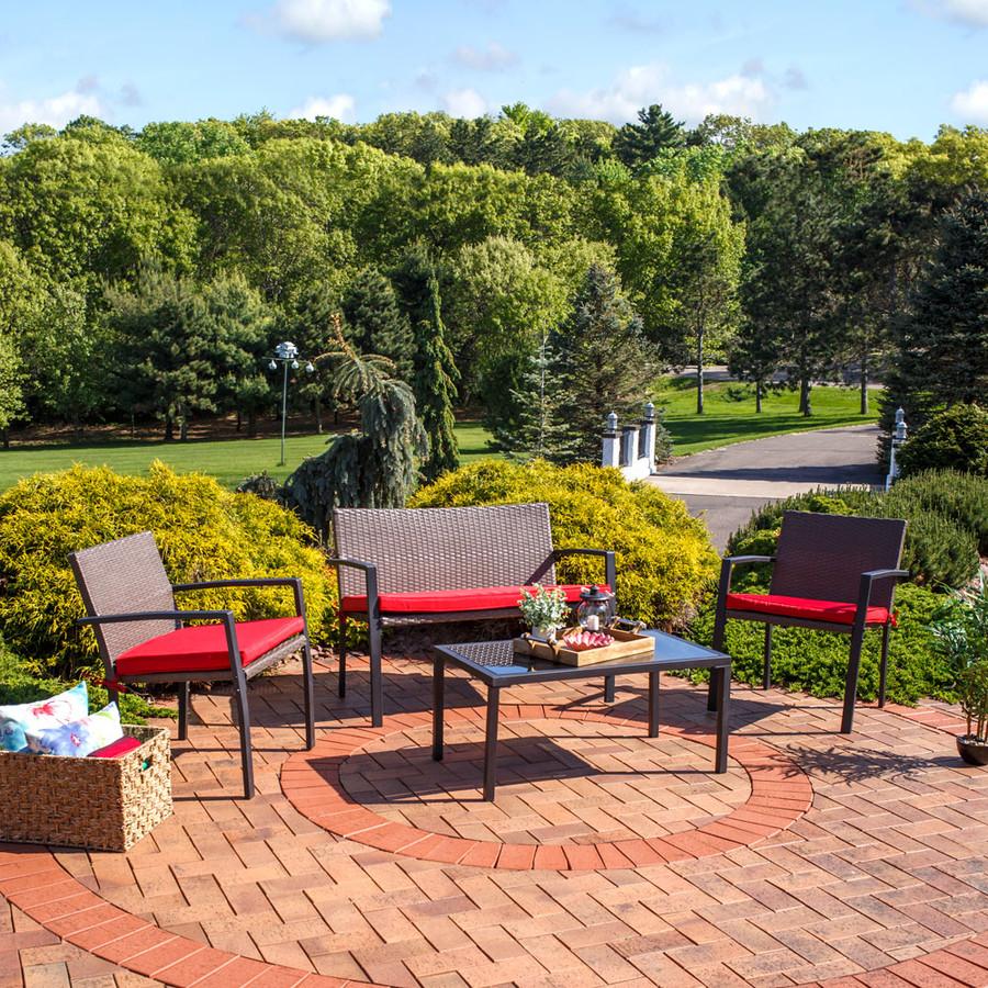 Sunnydaze Kula 4-Piece Wicker Rattan Patio Furniture Lounger Set with Red Cushions