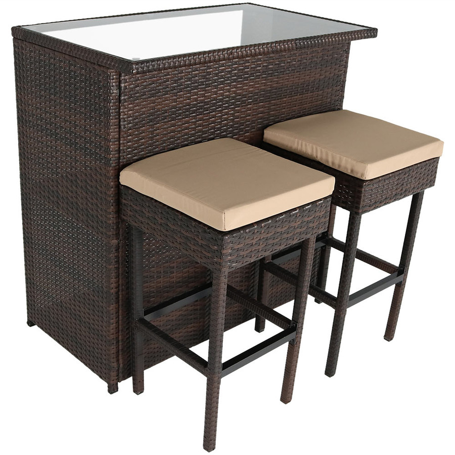 Melindi 3-Piece Outdoor Patio Bar Set with Tan Cushions
