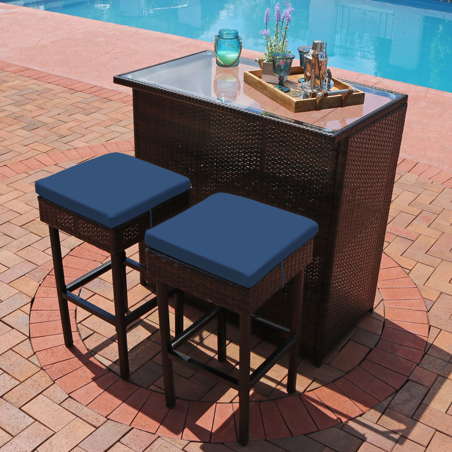 Melindi 3-Piece Outdoor Patio Bar Set with Blue Cushions