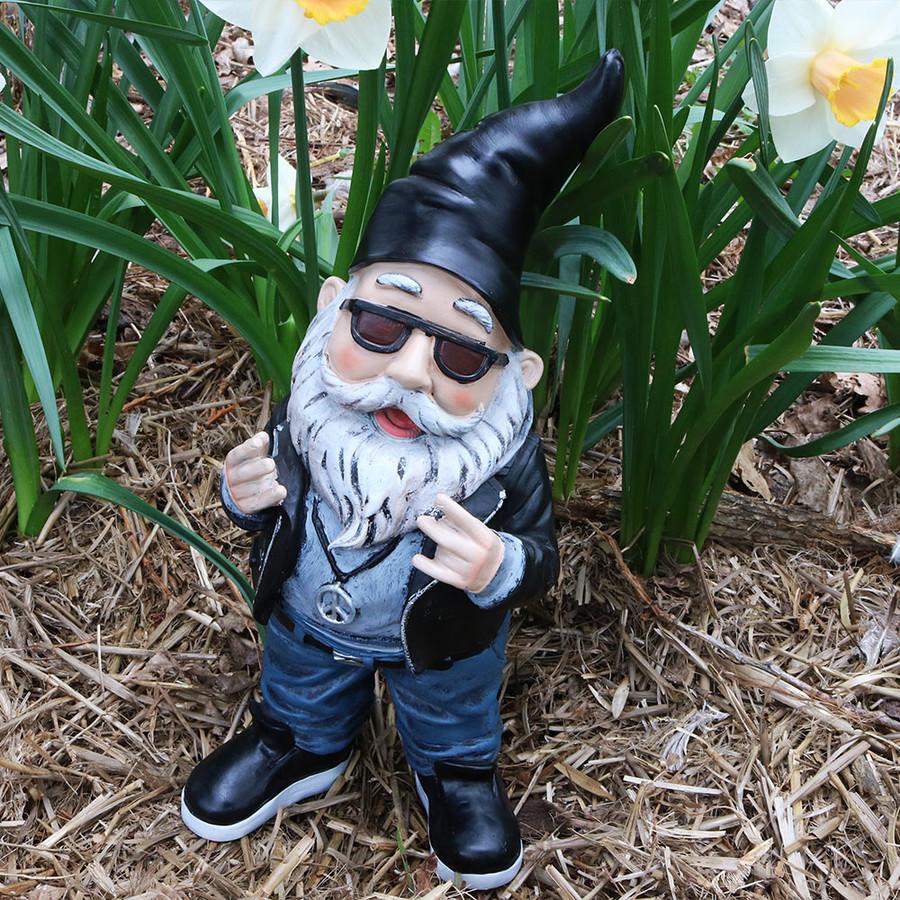 Sunnydaze Randy The Rebel Biker Garden Gnome, 14 Inch Tall