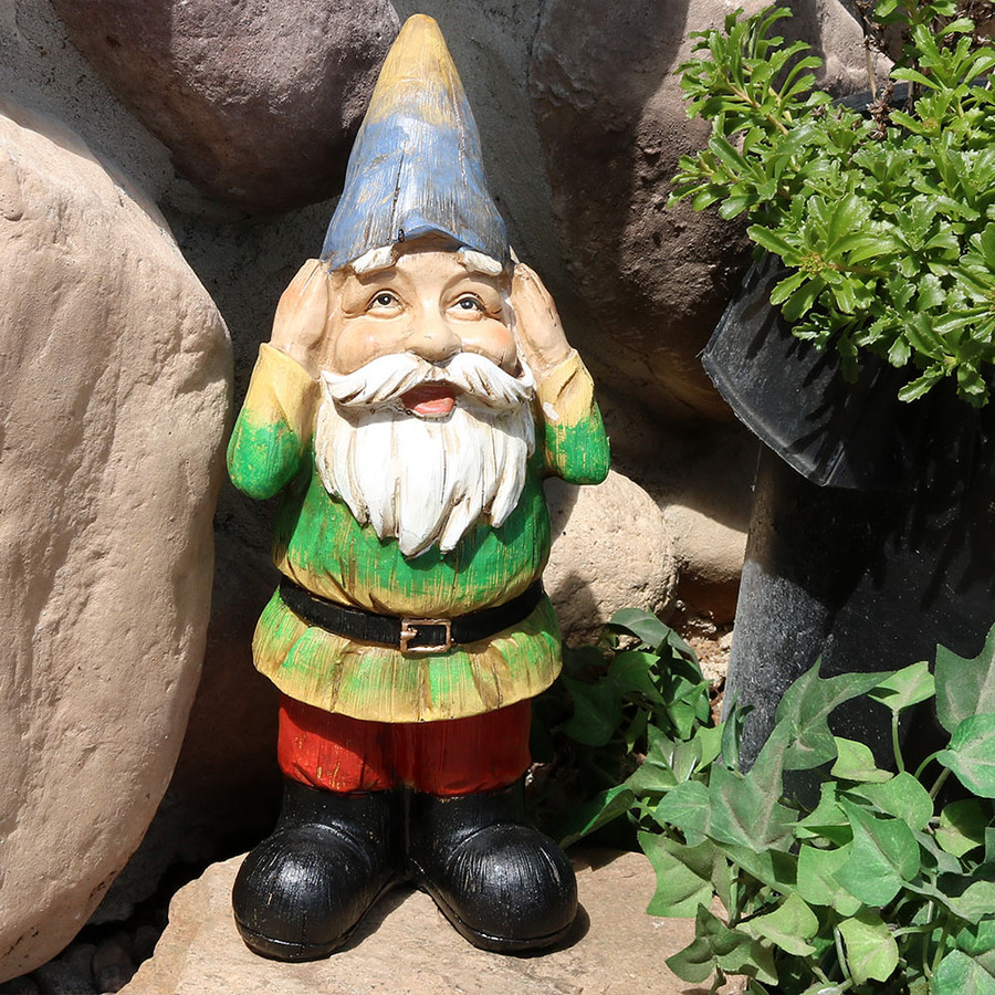 Sunnydaze Henry Hears No Evil Garden Gnome, 12 Inch Tall