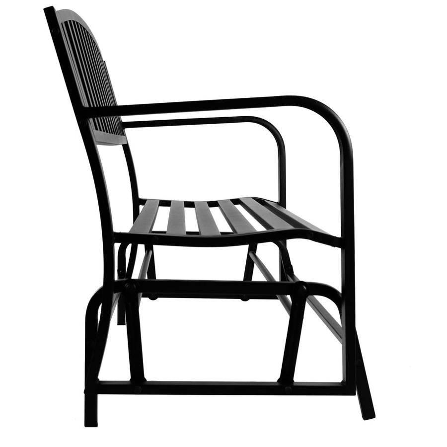 Sunnydaze 50-Inch Black Steel Outdoor Patio Glider Bench