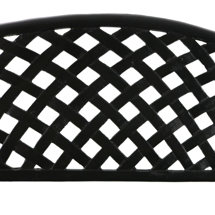 Sunnydaze 2-Person Checkered Cast Aluminum Garden Bench, Black